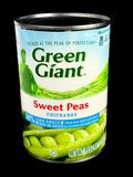 Cans of Green Giant Sweet Peas on Black Background. A can of Green Giant Sweet Peas on a black background Stock Photo