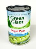 Cans of Green Giant Sweet Peas on White Background. A can of Green Giant Sweet Peas on a white background Stock Image