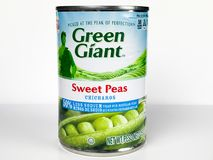 Cans of Green Giant Sweet Peas on White Background. A can of Green Giant Sweet Peas on a white background Stock Photography