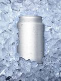 Cans of on ice white background stock photos