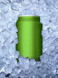 Cans of on ice white background royalty free stock photo