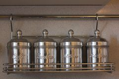 Cans in italian kitchen! Royalty Free Stock Photography