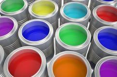 Cans med färgmålarfärg Stock Illustrationer