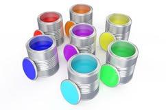 Cans med färgmålarfärg, regnbåge vektor illustrationer