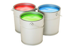 Cans med färgmålarfärg, RGB-begrepp framförande 3d vektor illustrationer