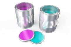 Cans med färgmålarfärg, rosa färger och blått stock illustrationer