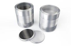 Cans med färgmålarfärg, silver och svart Royaltyfri Illustrationer