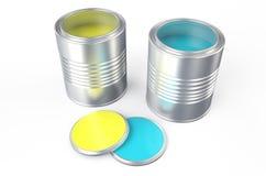 Cans med guling- och blåttmålarfärg royaltyfri illustrationer