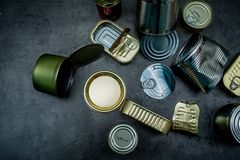 Cans. Metal waste. Place for text. Recycling royalty free stock images