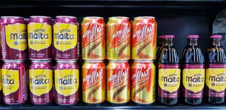 Cans of non-alcohol malt drink. KUALA LUMPUR, MALAYSIA - JANUARY 17, 2018: Cans of non-alcohol malt drink at Mid-Valley Shopping Centre, Kuala Lumpur Stock Image