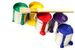 Cans of paint. With paintbrush royalty free stock photos