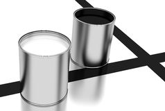 Cans of paint, black and white Stock Images
