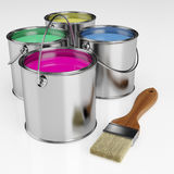 Cans of paint and a brush Royalty Free Stock Images