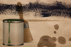 Cans of paint and brush Stock Photos