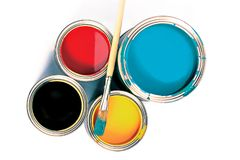 Cans of paint and brush. stock photo