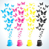 Cans of paint and butterflies Stock Photography