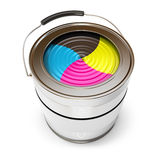 Cans of paint (CMYK Concept). Isolated on white background. 3d render Stock Photo