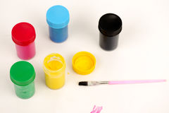 Cans of paint colors Royalty Free Stock Images
