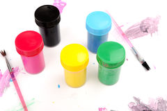 Cans of paint colors Royalty Free Stock Photo