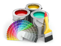 Cans of paint with colour palette and paintbrush. Royalty Free Stock Images