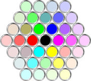 Cans of paint in the hexagonal. Cans with various colors seen from the top Stock Photos