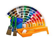 Cans of paint, paint brushes, Royalty Free Stock Photos