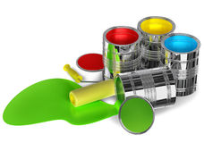 Cans of paint and roller. Prepared for painting walls Royalty Free Stock Photo