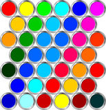 Cans of paint. Cans with various colors seen from the top Royalty Free Stock Photo