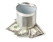 Cans and paper money Stock Photos