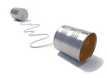 Cans phone. 3d render illustration of a telephone made from tin cans Royalty Free Stock Images