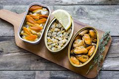Cans of preserves. With clams, cockles and mussels on a rustic table Royalty Free Stock Photos