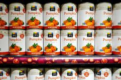 Cans of pumpkin puree from Whole Foods Market Stock Image