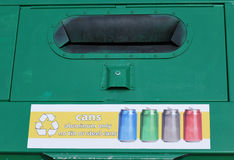 Cans recycle station. Stock Photos