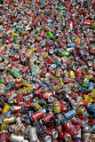Cans for recycling. Aluminium cans waiting to be crushed and melted for recycling royalty free stock image