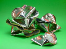 Cans for Recycling. A pile of used tin cans, cleaned and flattened ready to be recycled Royalty Free Stock Image