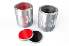Cans with red  and black paint. Cans with red and black paint isolated on white background Stock Image