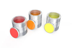Cans with red, orange  and yellow paint. Isolated on white background Stock Images