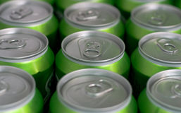 Cans in refrigerator Royalty Free Stock Image