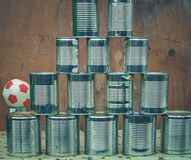 Cans shoot at a funfair. In the summer royalty free stock images