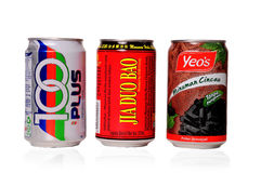 Cans of soft drink. Soft drink cans isolated on white Stock Photos