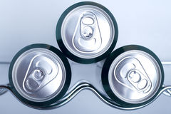 Cans of soft drink in a Refrigerator Stock Photo
