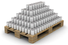 Cans stacked on a Euro-pallet Stock Images