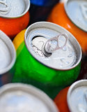 Cans of sweet drinks (or beer) Royalty Free Stock Photo