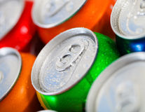 Cans of sweet drinks (or beer) Royalty Free Stock Photos