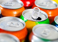Cans of sweet drinks (or beer) Stock Images
