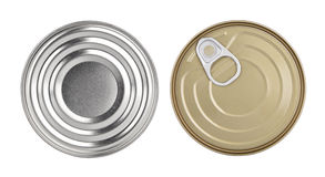 Cans top view without labels Royalty Free Stock Photography