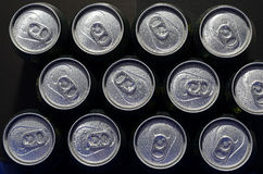 Cans with water drops. An array of beer cans (unopened) with water drops Royalty Free Stock Photography