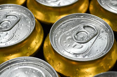 Cans with water drops close-up Royalty Free Stock Image