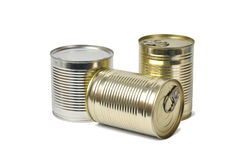 Cans on White stock photography