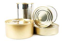 Cans on a white background. Royalty Free Stock Photo